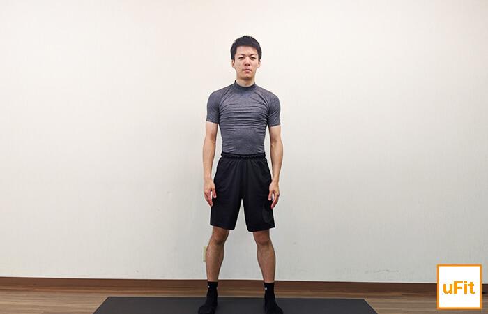 体側を伸ばすストレッチ(立ったまま)